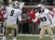 Dec 7, 2013; Dallas, TX, USA; UCF Knights kicker Shawn Moffitt (83) is congratulated by wide receiver J.J. Worton (9) after kicking a field goal against the Southern Methodist Mustangs during the first half of an NCAA football game at Gerald J. Ford Stadium. Mandatory Credit: Jim Cowsert-USA TODAY Sports
