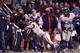 Dec 7, 2013; Fresno, CA, USA; Fresno State Bulldogs wide receiver Isaiah Burse (1) scores a touchdown past Utah State Aggies linebacker Kyler Fackrell (9) in the second quarter at Bulldog Stadium. Mandatory Credit: Cary Edmondson-USA TODAY Sports