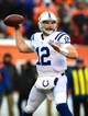 Dec 8, 2013; Cincinnati, OH, USA; Indianapolis Colts quarterback Andrew Luck (12) runs the ball during the fourth quarter against the Cincinnati Bengals at Paul Brown Stadium. Mandatory Credit: Andrew Weber-USA TODAY Sports