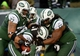 Dec 8, 2013; East Rutherford, NJ, USA; New York Jets running back Chris Ivory (33) is congratulated by teammates after a fourth quarter touchdown against the Oakland Raiders during the game at MetLife Stadium. Mandatory Credit: Robert Deutsch-USA TODAY Sports