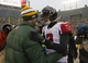 Dec 8, 2013; Green Bay, WI, USA; quarterback Aaron Rodgers (left) greets Atlanta Falcons quarterback Matt Ryan (2) (right) following the game at Lambeau Field.  Green Bay won 22-21.  Mandatory Credit: Jeff Hanisch-USA TODAY Sports