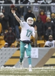 Dec 8, 2013; Pittsburgh, PA, USA; Miami Dolphins quarterback Ryan Tannehill (17) throws a pass against the Pittsburgh Steelers during the second half at Heinz Field. The Dolphins won the game, 34-28. Mandatory Credit: Jason Bridge-USA TODAY Sports