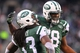 Dec 8, 2013; East Rutherford, NJ, USA; New York Jets running back Chris Ivory (33) celebrates his touchdown run with defensive tackle Leger Douzable (78) during the second half at MetLife Stadium. The Jets defeated the Raiders 37-27.  Mandatory Credit: Ed Mulholland-USA TODAY Sports