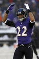 Dec 8, 2013; Baltimore, MD, USA; Baltimore Ravens cornerback Jimmy Smith (22) encourages the fans to cheer during the game against the Minnesota Vikings at M&T Bank Stadium. Mandatory Credit: Mitch Stringer-USA TODAY Sports