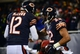 Dec 9, 2013; Chicago, IL, USA; Chicago Bears running back Matt Forte (22) celebrates with quarterback Josh McCown (12) after scoring a touchdown during the third quarter against the Dallas Cowboys at Soldier Field. Mandatory Credit: Andrew Weber-USA TODAY Sports