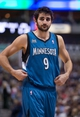 Nov 30, 2013; Dallas, TX, USA; Minnesota Timberwolves point guard Ricky Rubio (9) waits for play to begin against the Dallas Mavericks during the game at the American Airlines Center. The Timberwolves defeated the Mavericks 112-106. Mandatory Credit: Jerome Miron-USA TODAY Sports