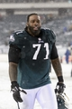 Dec 8, 2013; Philadelphia, PA, USA; Philadelphia Eagles offensive tackle Jason Peters (71) walks off the field after defeating the Detroit Lions at Lincoln Financial Field. The Eagles defeated the Lions 34-20. Mandatory Credit: Howard Smith-USA TODAY Sports
