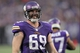 Dec 15, 2013; Minneapolis, MN, USA; Minnesota Vikings defensive end Jared Allen (69) smiles during the fourth quarter against the Philadelphia Eagles at Mall of America Field at H.H.H. Metrodome. The Vikings defeated the Eagles 48-30. Mandatory Credit: Brace Hemmelgarn-USA TODAY Sports