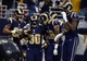 Dec 15, 2013; St. Louis, MO, USA; St. Louis Rams running back Zac Stacy (30) celebrates his 40 yard touchdown with teammates during the first half against the New Orleans Saints at the Edward Jones Dome. Mandatory Credit: Jeff Curry-USA TODAY Sports