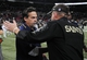 Dec 15, 2013; St. Louis, MO, USA; St. Louis Rams head coach Jeff Fisher shakes hands with New Orleans Saints head coach Sean Payton after a game at the Edward Jones Dome. The Rams defeated the Saints 27-16. Mandatory Credit: Jeff Curry-USA TODAY Sports