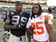 Dec 15, 2013; Oakland, CA, USA; Texas Longhorns former players Lamarr Houston of the Oakland Raiders (99) and Jamaal Charles of the Kansas City Chiefs (25) pose after the game at O.co Coliseum. Mandatory Credit: Kirby Lee-USA TODAY Sports