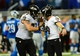 Dec 16, 2013; Detroit, MI, USA; Baltimore Ravens kicker Justin Tucker (9) celebrates with guard Marshal Yanda (73) after kicking a 61 yard field goal during the fourth quarter against the Detroit Lions at Ford Field. Baltimore Ravens defeated the Detroit Lions 18-16. Mandatory Credit: Andrew Weber-USA TODAY Sports