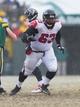 Dec 8, 2013; Green Bay, WI, USA; Atlanta Falcons guard Justin Blalock (63) during the game against the Green Bay Packers at Lambeau Field.  Green Bay won 22-21.  Mandatory Credit: Jeff Hanisch-USA TODAY Sports