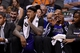 Nov 20, 2013; Phoenix, AZ, USA; Sacramento Kings center DeMarcus Cousins (15) and forward Chuck Hayes (42) react on the bench in the second half of the game against the Phoenix Suns at US Airways Center. The Kings defeated the Suns 113-106. Mandatory Credit: Jennifer Stewart-USA TODAY Sports
