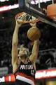 Dec 17, 2013; Cleveland, OH, USA; Portland Trail Blazers center Robin Lopez (42) dunks against the Cleveland Cavaliers in the second quarter at Quicken Loans Arena. Mandatory Credit: David Richard-USA TODAY Sports