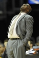 Dec 17, 2013; Cleveland, OH, USA; Cleveland Cavaliers head coach Mike Brown looks at the scoreboard in the fourth quarter against the Portland Trail Blazers at Quicken Loans Arena. Mandatory Credit: David Richard-USA TODAY Sports