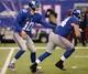 Dec 15, 2013; East Rutherford, NJ, USA; New York Giants quarterback Eli Manning (10) hands off to running back Peyton Hillis (44) at MetLife Stadium. The Seahawks won the game 23-0. Mandatory Credit: Joe Camporeale-USA TODAY Sports