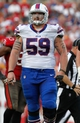 Dec 8, 2013; Tampa, FL, USA; Buffalo Bills guard Doug Legursky (59) against the Tampa Bay Buccaneers during the second half at Raymond James Stadium. Tampa Bay Buccaneers defeated the Buffalo Bills 27-6. Mandatory Credit: Kim Klement-USA TODAY Sports