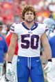 Dec 8, 2013; Tampa, FL, USA; Buffalo Bills middle linebacker Kiko Alonso (50) against the Tampa Bay Buccaneers during the second half at Raymond James Stadium. Tampa Bay Buccaneers defeated the Buffalo Bills 27-6. Mandatory Credit: Kim Klement-USA TODAY Sports