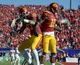Dec 21, 2013; Las Vegas, NV, USA; Southern California Trojans receiver Nelson Agholor (15) celebrates with tailback Javorius Allen (37) after scoring on a 40-yard touchdown reception against the Fresno State Bulldogs in the Las Vegas Bowl at Sam Boyd Stadium. Mandatory Credit: Kirby Lee-USA TODAY Sports