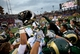 Dec 21, 2013; Albuquerque, NM, USA; Colorado State Rams celebrate on the field after defeating the Washington State Cougars during the Gildan New Mexico Bowl at University Stadium. The Rams defeated the Cougars 48-45. Mandatory Credit: Mark J. Rebilas-USA TODAY Sports