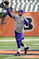 Dec 8, 2013; Cincinnati, OH, USA;  Minnesota Vikings quarterback Christian Ponder (7)  warms up before the game against the Cincinnati Bengals at Paul Brown Stadium. Mandatory Credit: Marc Lebryk-USA TODAY Sports