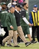 Dec 22, 2013; East Rutherford, NJ, USA; New York Jets head coach Rex Ryan leaves the field after the game against the Cleveland Browns at MetLife Stadium. Mandatory Credit: Robert Deutsch-USA TODAY Sports