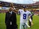 Dec 8, 2013; Landover, MD, USA; Dallas Cowboys quarterback Tony Romo (9) walks off the field after defeating the Washington Redskins at FedEx Field. Mandatory Credit: Brad Mills-USA TODAY Sports