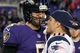 Dec 22, 2013; Baltimore, MD, USA; New England Patriots wide receiver Austin Collie (10) greets Baltimore Ravens quarterback Joe Flacco (5) after the game at M&T Bank Stadium. Mandatory Credit: Mitch Stringer-USA TODAY Sports