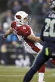 Dec 22, 2013; Seattle, WA, USA; Arizona Cardinals kicker Jay Feely (4) kicks a 46-yard field goal against the Seattle Seahawks during the third quarter at CenturyLink Field. Mandatory Credit: Joe Nicholson-USA TODAY Sports