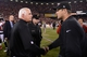 December 23, 2013; San Francisco, CA, USA; Atlanta Falcons head coach Mike Smith (left) shakes hands with San Francisco 49ers head coach Jim Harbaugh (right) after the final regular season game at Candlestick Park. The 49ers defeated the Falcons 34-24. Mandatory Credit: Kyle Terada-USA TODAY Sports