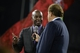 December 23, 2013; San Francisco, CA, USA; San Francisco 49ers former wide receiver Jerry Rice (left) talks to sportscaster Chris Berman (right) after the final regular season game against the Atlanta Falcons at Candlestick Park. The 49ers defeated the Falcons 34-24. Mandatory Credit: Kyle Terada-USA TODAY Sports