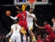 December 25, 2013; Los Angeles, CA, USA; Miami Heat shooting guard Dwyane Wade (3) moves to  the basket against the defense of Los Angeles Lakers center Jordan Hill (27) during the second half at Staples Center. Mandatory Credit: Gary A. Vasquez-USA TODAY Sports