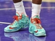 December 25, 2013; Los Angeles, CA, USA; Detail view of the Christmas edition shoes of Miami Heat small forward LeBron James (6) during the second half at Staples Center. Mandatory Credit: Gary A. Vasquez-USA TODAY Sports