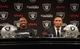Dec 27, 2013; Alameda, CA, USA; Charles Woodson (left) and Nnamdi Asomugha at press conference at Oakland Raiders Practice Facility. Mandatory Credit: Kirby Lee-USA TODAY Sports