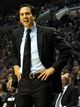 Dec 28, 2013; Portland, OR, USA; Miami Heat head coach Erik Spoelstra reacts to an officials call during the first quarter of the game against the Portland Trail Blazers at the Moda Center. Mandatory Credit: Steve Dykes-USA TODAY Sports