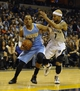 Dec 28, 2013; Memphis, TN, USA; Denver Nuggets shooting guard Randy Foye (4) drives to the basket against Memphis Grizzlies point guard Jerryd Bayless (7) during the fourth quarter at FedExForum. Memphis Grizzlies beat the Denver Nuggets 120-99. Mandatory Credit: Justin Ford-USA TODAY Sports