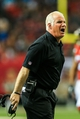 Dec 29, 2013; Atlanta, GA, USA; Atlanta Falcons head coach Mike Smith argues a call in the first half against the Carolina Panthers at the Georgia Dome. Mandatory Credit: Daniel Shirey-USA TODAY Sports