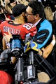 Dec 29, 2013; Atlanta, GA, USA; Carolina Panthers head coach Ron Rivera hugs Atlanta Falcons tight end Tony Gonzalez (88) after the game at the Georgia Dome. The Panthers won 21-20. Mandatory Credit: Dale Zanine-USA TODAY Sports
