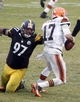 Dec 29, 2013; Pittsburgh, PA, USA; Pittsburgh Steelers defensive end Cameron Heyward (97) sacks Cleveland Browns quarterback Jason Campbell (17) during the fourth quarter at Heinz Field. The Pittsburgh Steelers won 20-7. Mandatory Credit: Charles LeClaire-USA TODAY Sports
