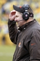 Dec 29, 2013; Pittsburgh, PA, USA; Cleveland Browns head coach Rob Chudzinski reacts on the sidelines against the Pittsburgh Steelers during the fourth quarter at Heinz Field. The Pittsburgh Steelers won 20-7. Mandatory Credit: Charles LeClaire-USA TODAY Sports