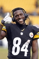 Dec 29, 2013; Pittsburgh, PA, USA; Pittsburgh Steelers wide receiver Antonio Brown (84) gestures during a post game interview after defeating the Cleveland Browns at Heinz Field. The Pittsburgh Steelers won 20-7. Mandatory Credit: Charles LeClaire-USA TODAY Sports