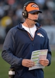 Dec 29, 2013; Oakland, CA, USA; Denver Broncos offensive coordinator Adam Gase during the game against the Oakland Raiders at O.co Coliseum. The Broncos won 34-14. Mandatory Credit: Kirby Lee-USA TODAY Sports
