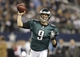 Dec 29, 2013; Arlington, TX, USA; Philadelphia Eagles quarterback Nick Foles (9) throws a pass in the fourth quarter against the Dallas Cowboys at AT&T Stadium. The Eagle beat the Cowboys 24-22. Mandatory Credit: Tim Heitman-USA TODAY Sports