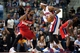 Dec 30, 2013; Auburn Hills, MI, USA; Washington Wizards power forward Nene Hilario (42) guards Detroit Pistons small forward Josh Smith (6) during the fourth quarter at The Palace of Auburn Hills. Washington won 106-99. Mandatory Credit: Tim Fuller-USA TODAY Sports