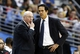 Dec 30, 2013; Denver, CO, USA; Miami Heat assistant coach Ron Rothstein (left) talks with head coach Erik Spoelstra in the third quarter at the Pepsi Center. The Heat defeated the Nuggets 97-94. Mandatory Credit: Isaiah J. Downing-USA TODAY Sports