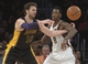 Dec 31, 2013; Los Angeles, CA, USA; Los Angeles Lakers forward Pau Gasol (16) and Milwaukee Bucks center Larry Sanders (8) battle for the ball during the game at Staples Center. The Bucks defeated the Lakers 94-79. Mandatory Credit: Kirby Lee-USA TODAY Sports