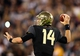 Jan 1, 2014; Glendale, AZ, USA; Baylor Bears quarterback Bryce Petty (14) throws a pass against the Central Florida Knights during the Fiesta Bowl at University of Phoenix Stadium. Central Florida defeated Baylor 52-42. Mandatory Credit: Mark J. Rebilas-USA TODAY Sports