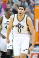 Jan 2, 2014; Salt Lake City, UT, USA; Utah Jazz center Enes Kanter (0) reacts during the first half against the Milwaukee Bucks at EnergySolutions Arena. Mandatory Credit: Russ Isabella-USA TODAY Sports