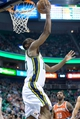 Jan 2, 2014; Salt Lake City, UT, USA; Utah Jazz point guard Alec Burks (10) shoots during the second half against the Milwaukee Bucks at EnergySolutions Arena. The Jazz won 96-87. Mandatory Credit: Russ Isabella-USA TODAY Sports